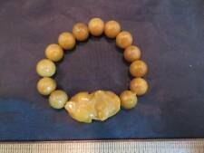 Jade Stone Asian Carved Frog Animal Round Beads Bracelet