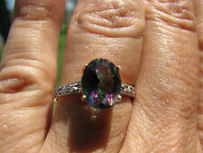 Mystic Topaz Oval Cut and Diamond Ring 10KT SOLID YG