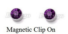 Purple 7mm Cubic Zirconia Magnetic Clip-On Stud Earrings Girls Boys Gift