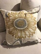 NEW Pottery Barn Sunflower Appliqué Embroidered Spring Botanical Pillow 20""