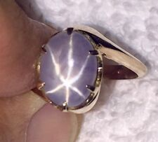 Natural Bluish Gray 8ct Star Sapphire 14kt Rose Gold Hand Made Antique Ring