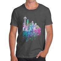 Twisted Envy Seattle Skyline Ink Splats Men's Funny T-Shirt