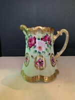 Antique Roses Japanese Moriage Porcelain Water Pitcher