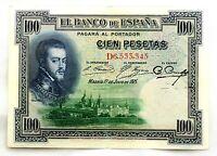 Spain-Billete. Felipe II. 100 Pesetas 1925. Madrid. Serie D. EBC/XF. Bonito
