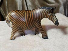 Hand Carved Zebra Brown Black Figurine