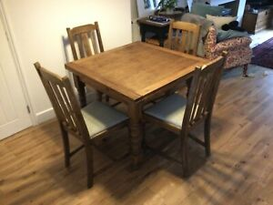 Oak Square Extendable Dining Table with Four Matching Chairs