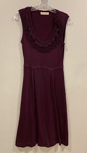 ALANNAH HILL 10 Dress Fit & Flare Burgundy Purple Crochet Ruffle Front D139