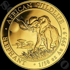 2016 SOMALIA GOLD ELEPHANT - 1/50 oz 24k Coin in Capsule African Wildlife .9999