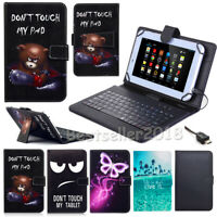 US For Lenovo Tab 4 8 / 10 inch Tablet PU Leather Case Micro USB Keyboard Cover