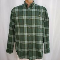 Duluth Trading Large Shirt Button Down Flannel Trim Fit Green Plaid Pockets