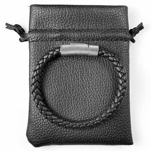 Sekora Mens Premium Nappa Leather Braided Bracelet Steel Clasp Wristband Steel
