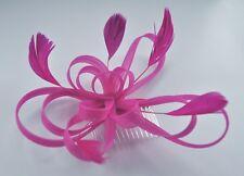 647c259317f41 Looped mesh feather fascinator hair comb. 10 colours  burgundy fuchsia  cerise
