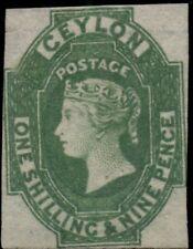 CEYLON #12, 1sh9p green, unused no gum, VF+, R.P.S. certificate, Scott $950.00