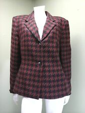 Vintage Rena Rowan Women's Woven Tweed Houndstooth Jacket Blazer~Size 6