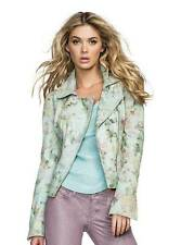 New Women's sz XS GUESS Long-Sleeve Floral-Print Genuine Leather Jacket