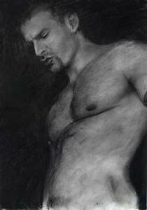 NUDE Male drawing DEEPER Realism Esteban Charcoal, 2/13/50 FREE SHIP