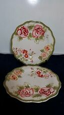 """Set of 2 PIER 1 IMPORTS AUDREY HAND PAINTED EARTHENWARE 11 1/4"""" DINNER PLATES"""