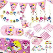 Baby Shark Theme Birthday Party Supplies Decorations Complete Set Pink Tableware