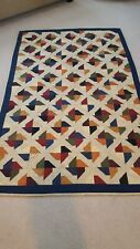 Hand Quilted Patchwork Throw Quilt.. Pinwheel...Beautiful....