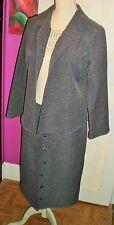 JACQUELINE RIU tailleur veste et jupe en laine couleur gris taille 2 38 40