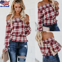 Women's Long Sleeve Off Shoulder Plaid Check Casual Frill Blouse T Shirt Tops US