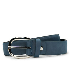 Fashion full grain belt on vegan leather with oval sleek silver buckle & tapered