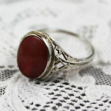 Vintage Art Deco 14K White Gold Filigree Deep Orange Carnelian Ring Size 6.25
