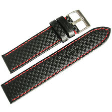 20mm Hadley-Roma MS847 Carbon Fiber Black Leather Red Stitching Watch Band Strap