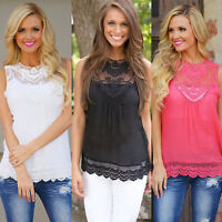 Womens Summer Lace Vest Top Sleeveless Blouse Casual Tank Tops T-Shirt Plus Size