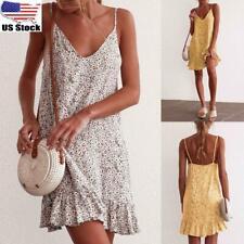 Womens Ladies Strappy Summer Boho Floral Mini Dress Holiday Beach Short Sundress