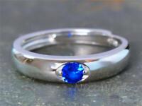 Silberring Schlicht Schmal Glatt Mit stein Blau Ring Silber 925 Verstellbar