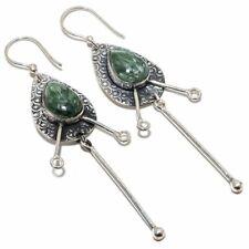 "Seraphinite Gemstone Handmade Ethnic 925 Sterling Silver Earring 3.0"""
