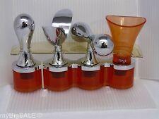 Karim Rashid 4 Topper Set Orange MOD Wine Alcohol Bottle Stopper Bar Copco 2003
