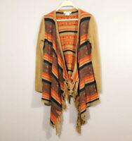 Flying Tomato Small Women Brown Aztec Fringe Long Sleeve Open Cardigan Sweater