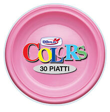 PIATTI PIANI DOPLA IN PLASTICA MONOUSO ROSA CF.30 PZ. COORDINATO TINTA UNITA