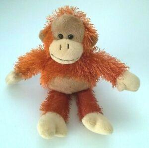 "Korimco Monkey Plush Beanie 9.5"" Soft Toy 24cm Orange Brown Shaggy Orangutan"