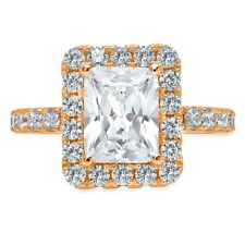 Engagement Bridal Ring 14k Rose Gold 3.9ct Emerald Round Cut Solitaire Wedding