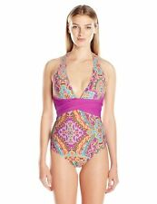 2f42f4ef0a ATHENA SPICE MARKET HALTER WRAP ONE PIECE SWIMSUIT PINK MULTI SIZE 6 NEW!  $98
