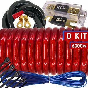 6000W SX 0 Gauge Amp Kit Amplifier Install Wiring HOT 0 Ga Car Wires Red