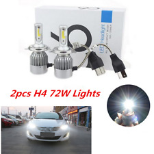 2Pcs H4 C6 7600LM 72W LED Headlight Kit Hi/Lo Turbo Light Bulbs For Car 6000K