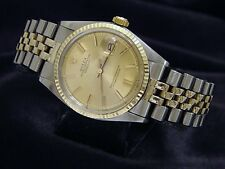 Rolex Datejust Mens 2T 14K Yellow Gold & Steel Watch Oval Link Jubilee Band 1601