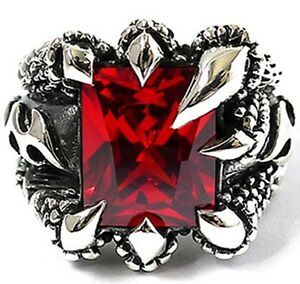 RED RUBY SAPPHIRE DRAGON CLAW STERLING 925 SILVER RING