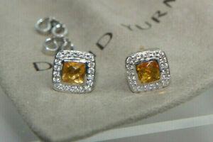 David Yurman 925 Silver 585 CITRINE Diamond Petite Ablion Stud Earrings Pouch