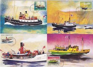 Post Boats Old Ships Vessels Faroe Islands Denmark Mint MAXI Cards (4) 1993