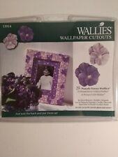 NIP Wallies Wallpaper 25 Cutouts Purple Pansy Wallies *** Free Shipping *****