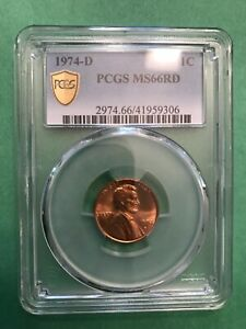 1974-D Lincoln Memorial Cent PCGS MS66RD with True View