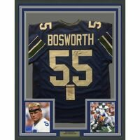 FRAMED Autographed/Signed BRIAN BOSWORTH 33x42 Seattle Blue Jersey JSA COA Auto