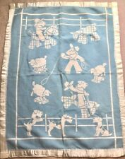 Vintage Baby Blanket, Dogs. Reversible, Blue and White Baby Lovey Blanket