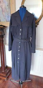 1980's Tailored Grey Shirt Dress, Size 12-14 (O7)