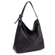 Ladies DESIGNER Soft PU Leather Hobo Handbag Satchel Shoulder Tote Bag Black